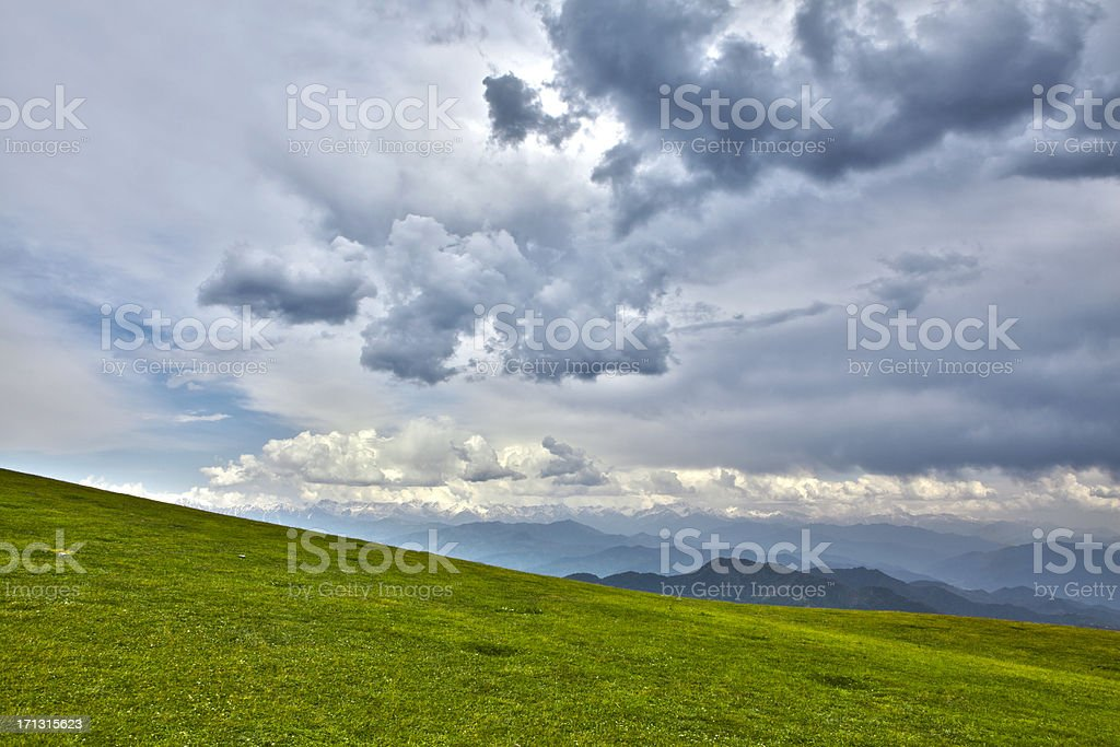 Rolling Meadow Landscape, Azad Kashmir HDR stock photo