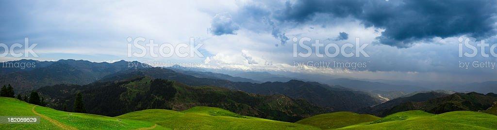 Rolling Meadow Landscape Panorama, Azad Kashmir stock photo