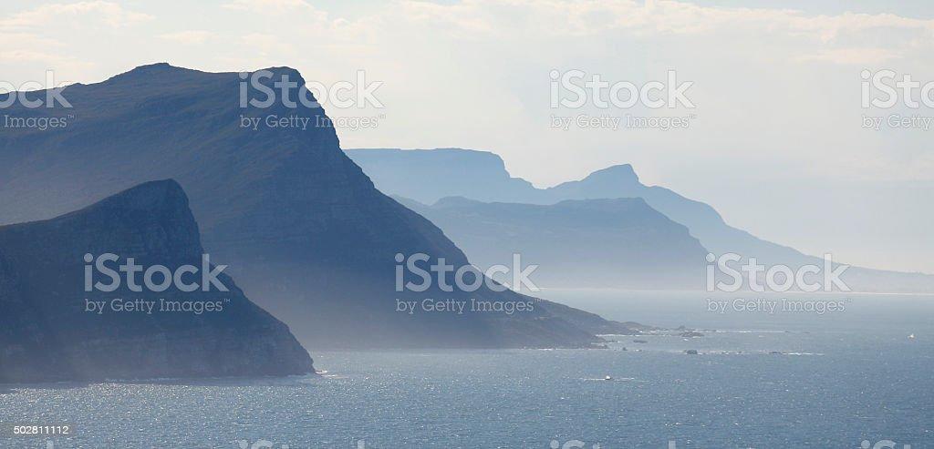 Rolling mountain peaks stock photo