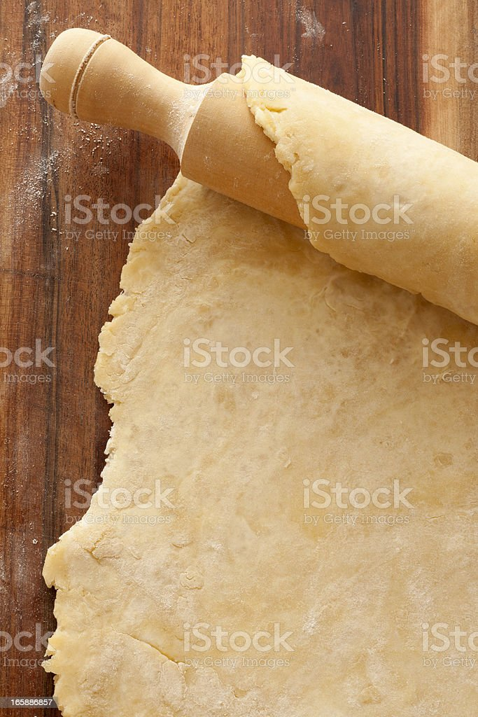 Rolling pin and dough stock photo
