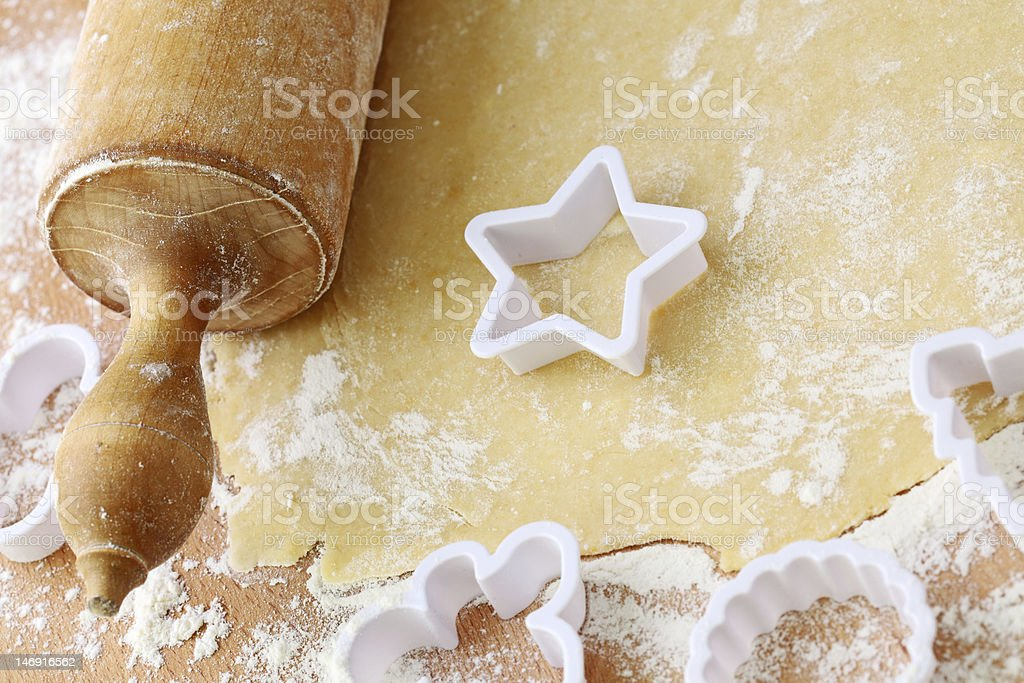 Rolling pin and shortcrust pastry stock photo