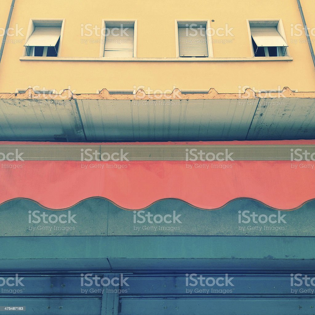 Rolling shutter, tent, windows - Architectural background stock photo