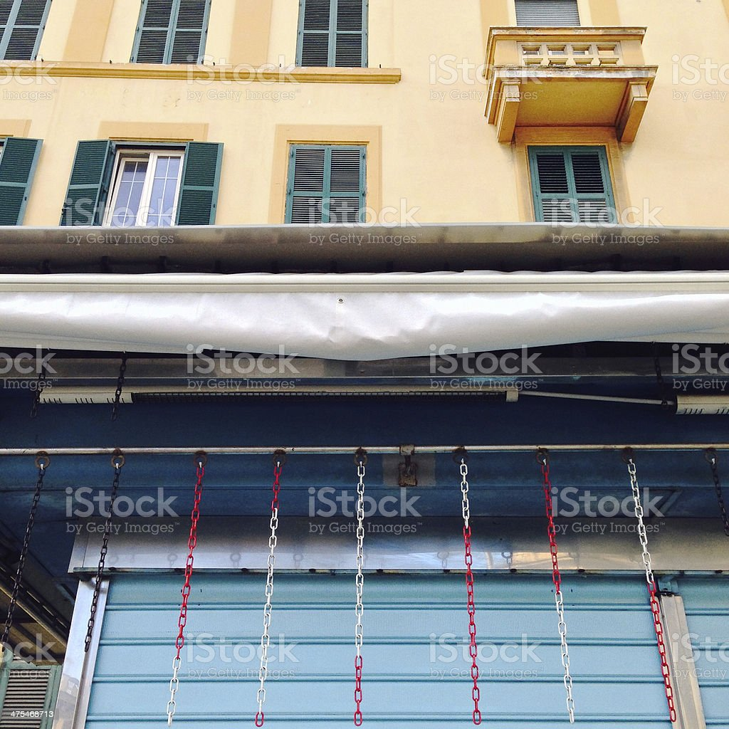 Rolling shutter, tent, windows stock photo
