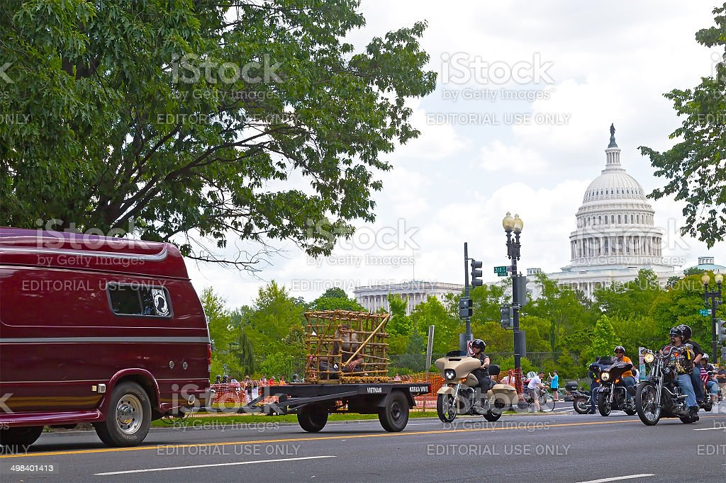 Rolling Thunde rally in Washington DC stock photo