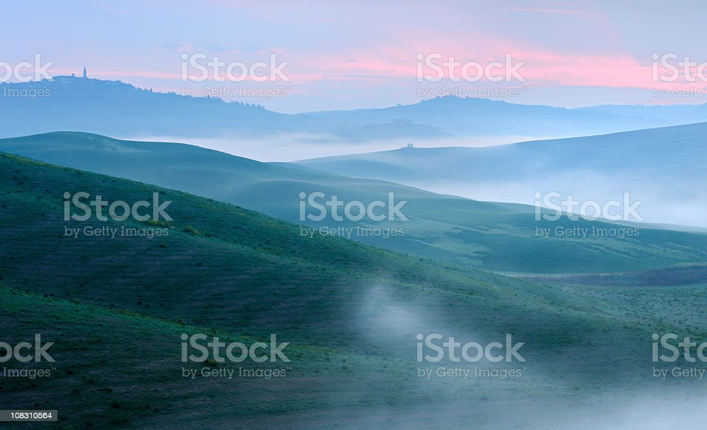 Rolling Tuscany Landsacpe near the Hill Town of Pienza royalty-free stock photo