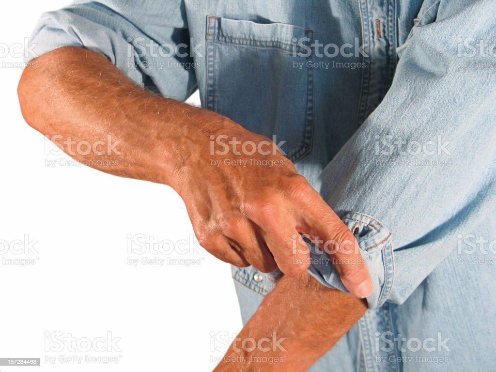 Rolling Up Sleeves to Work stock photo