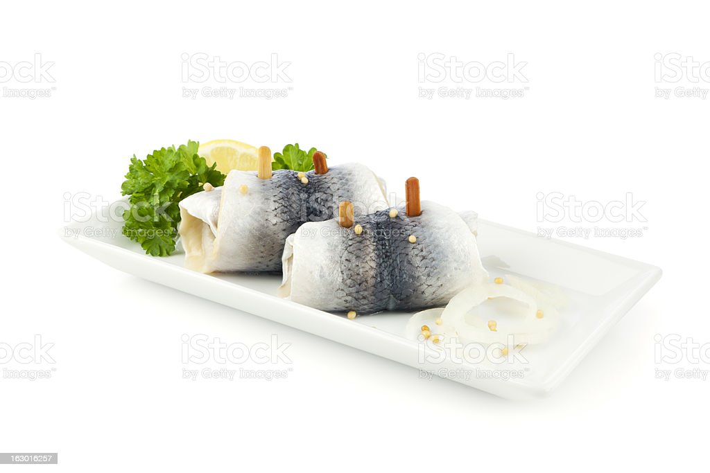 Rollmops on a plate isolated royalty-free stock photo