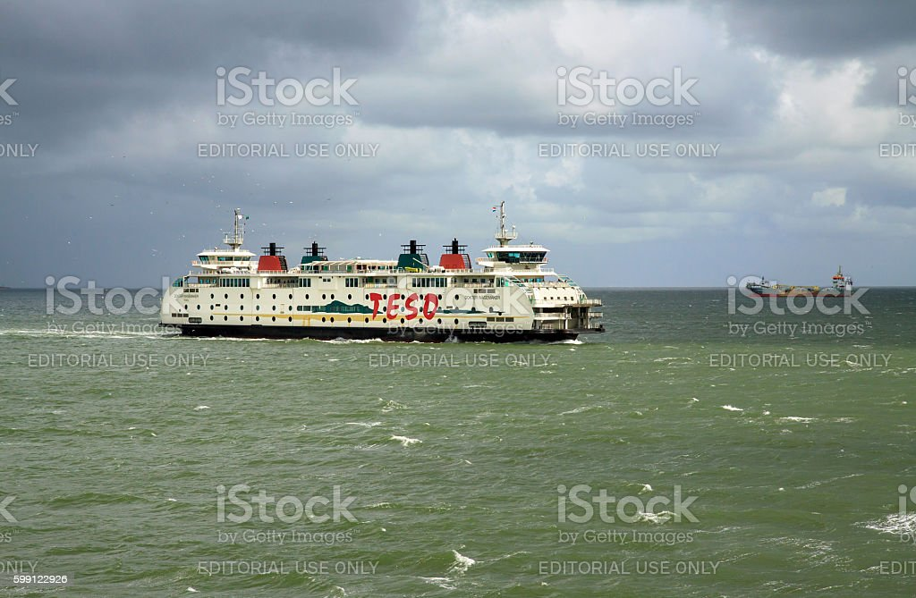 Roll-on roll-off ferry between Texel and Den Helder stock photo