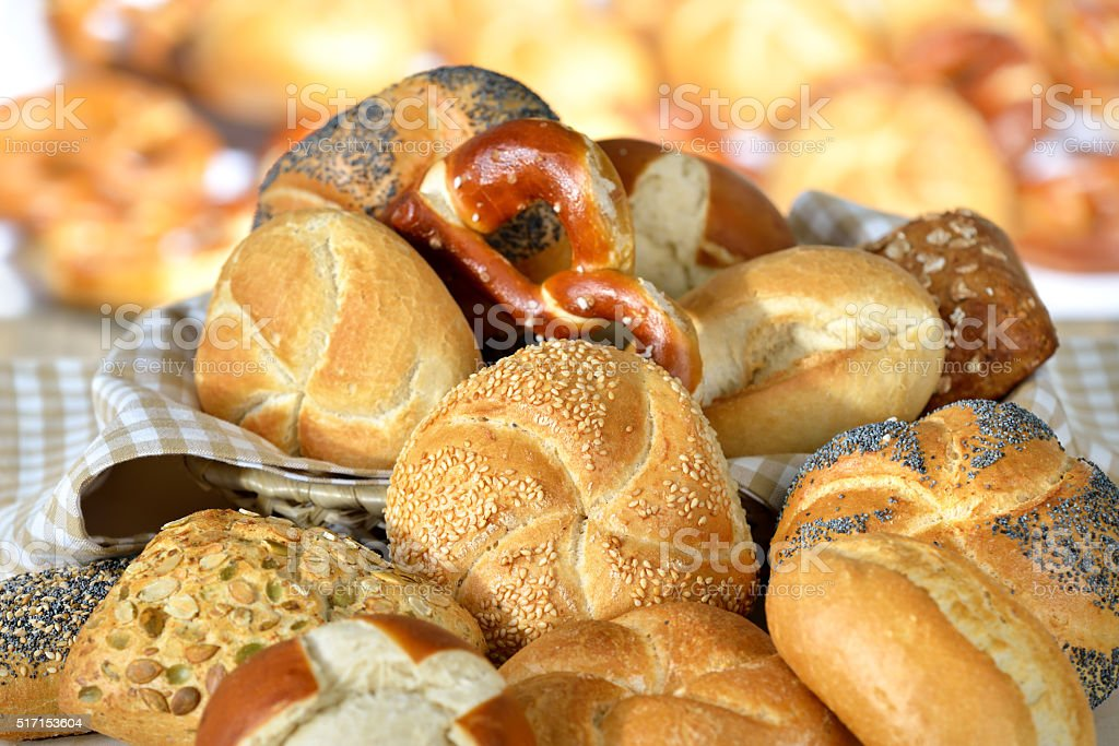 Rolls and pretzels stock photo