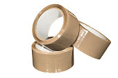 Rolls of adhesive parcel tape, on white