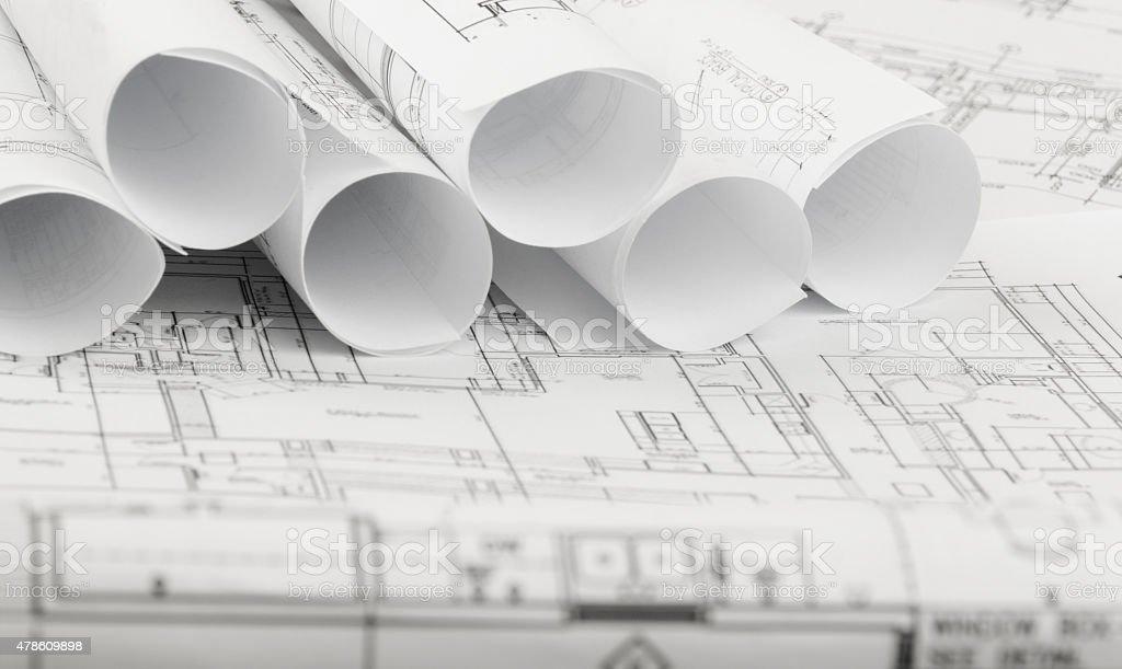 Architecture Blueprints rolls of architecture blueprints and house plans stock photo