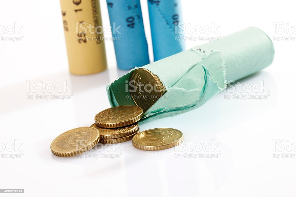 Rolls of assorted Euro coins stock photo