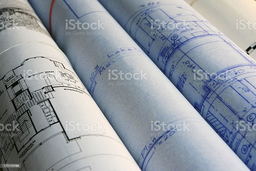 Rolls of Blueprints royalty-free stock photo