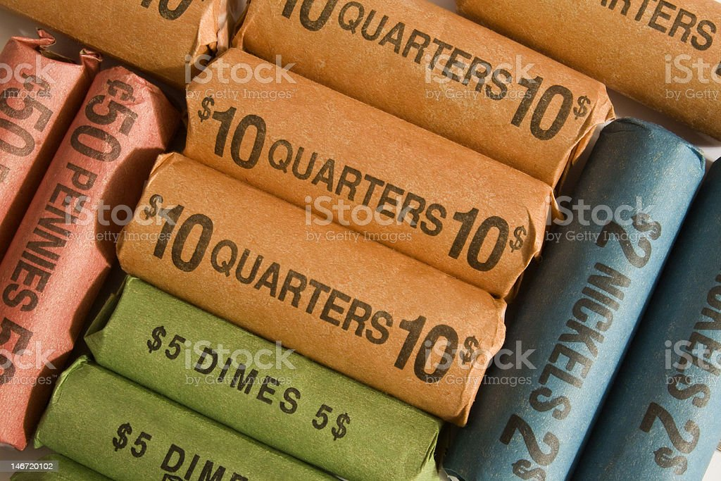 Rolls of Coins stock photo