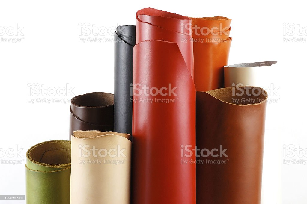 Rolls of Colored Leather royalty-free stock photo