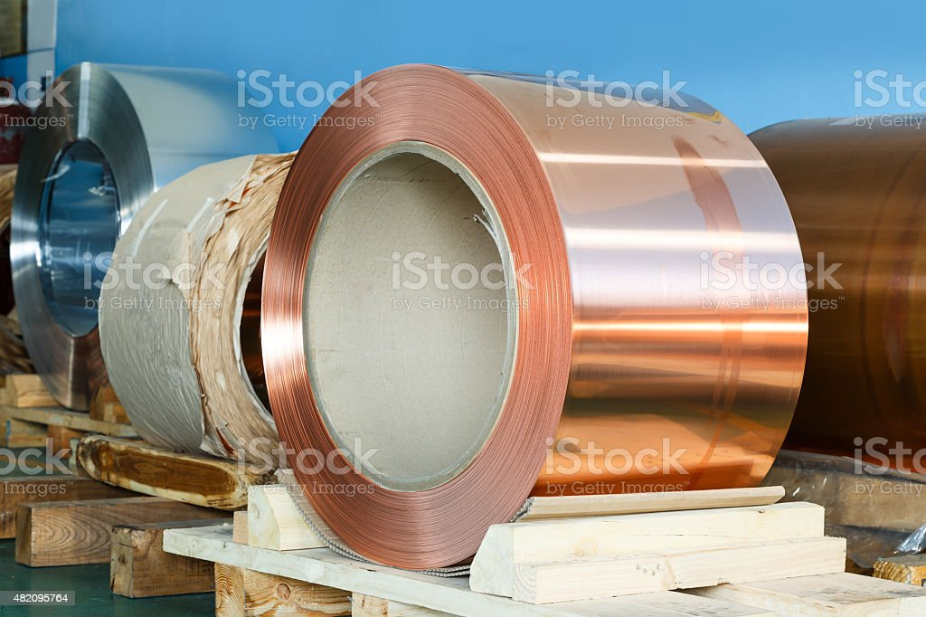 Rolls of copper foil in storage room stock photo