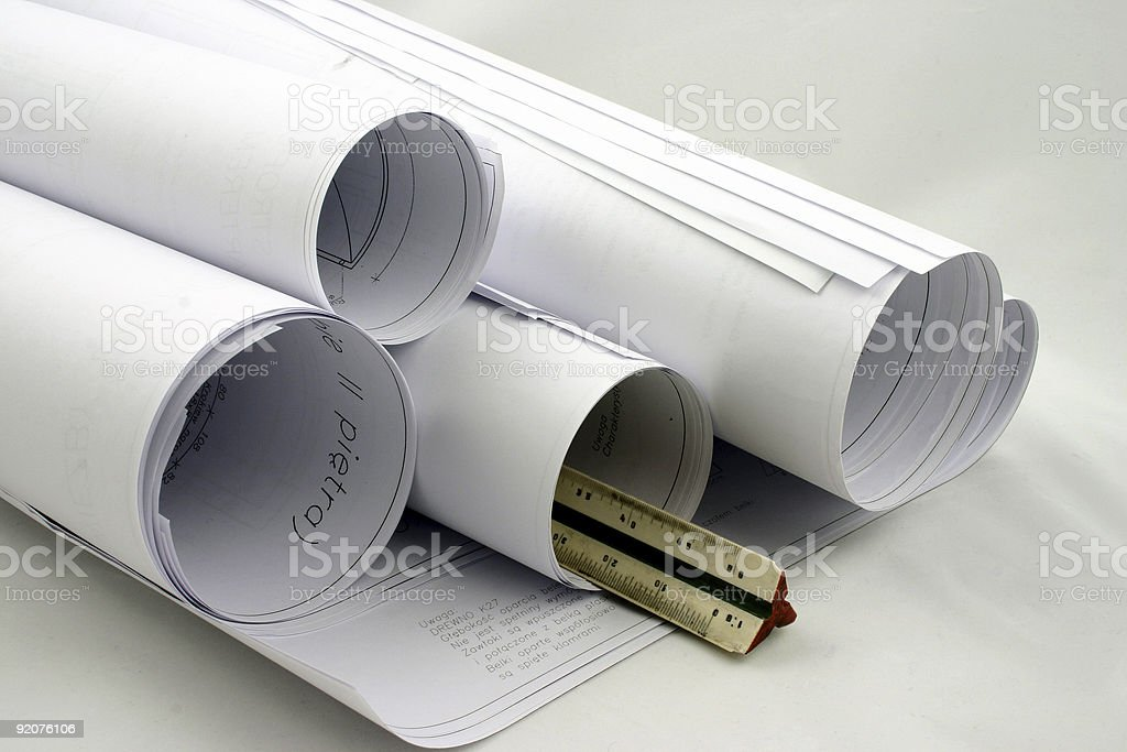 Rolls of designs with ruler royalty-free stock photo