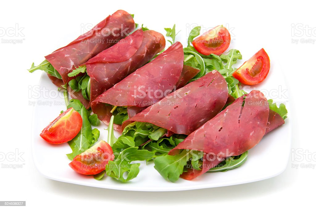 Rolls of dried beef stock photo