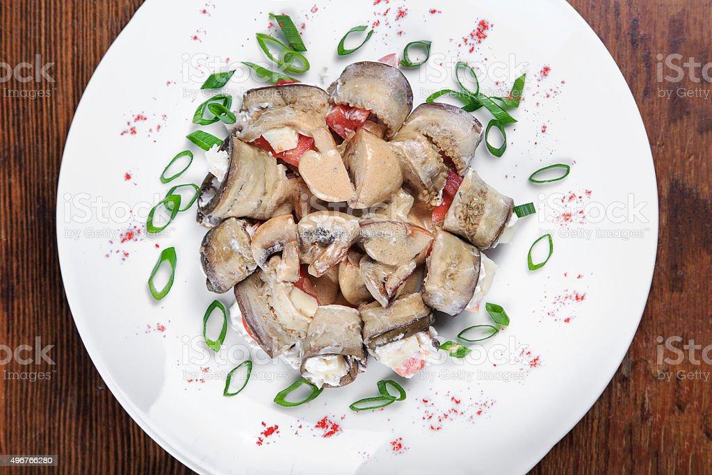rolls of eggplant stock photo