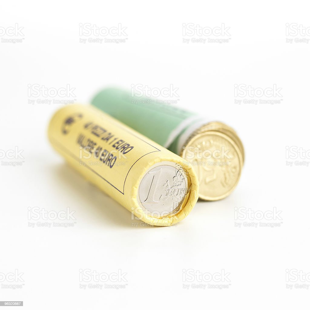 Rolls of Euro coins stock photo