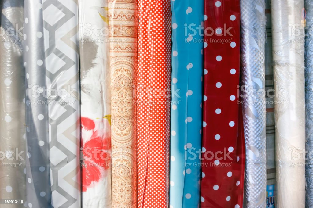 Rolls of fabric textures stock photo