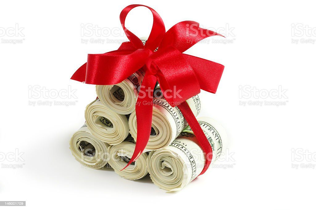 rolls of hundreds royalty-free stock photo