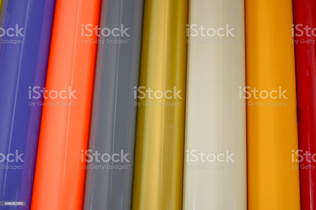 Rolls of multi-colored stickers stock photo