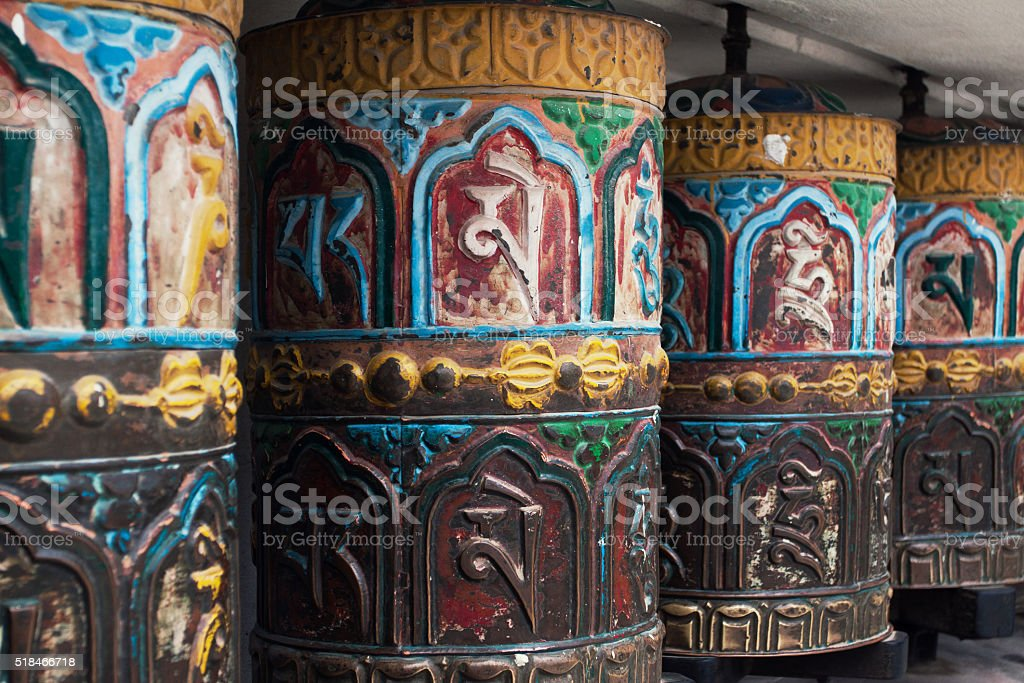 Rolls of prayer in Buddhist temples stock photo