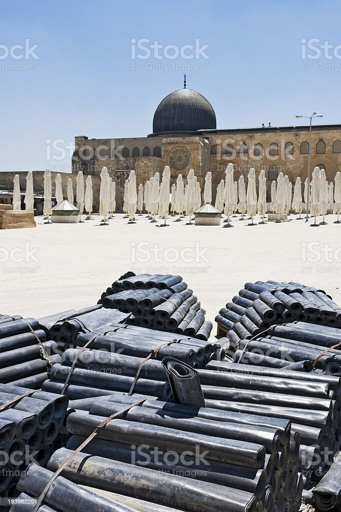 Rolls of rubber in Temple Mount royalty-free stock photo