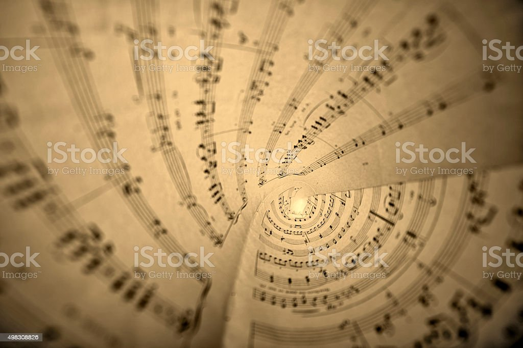 Rolls of sheet music stock photo