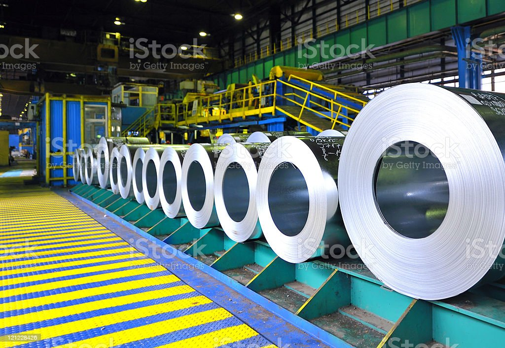 rolls of steel sheet. stock photo