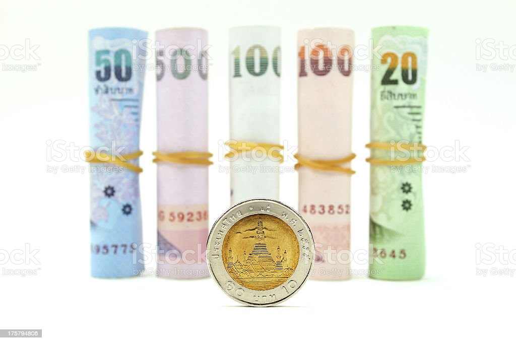 Rolls of Thai banknotes stock photo