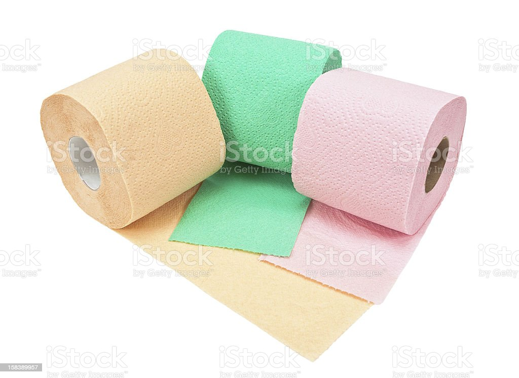 Rolls of toilet paper isolated on white background royalty-free stock photo
