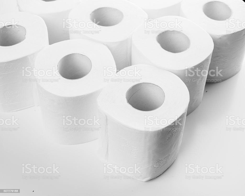 Rolls of toilet paper stock photo