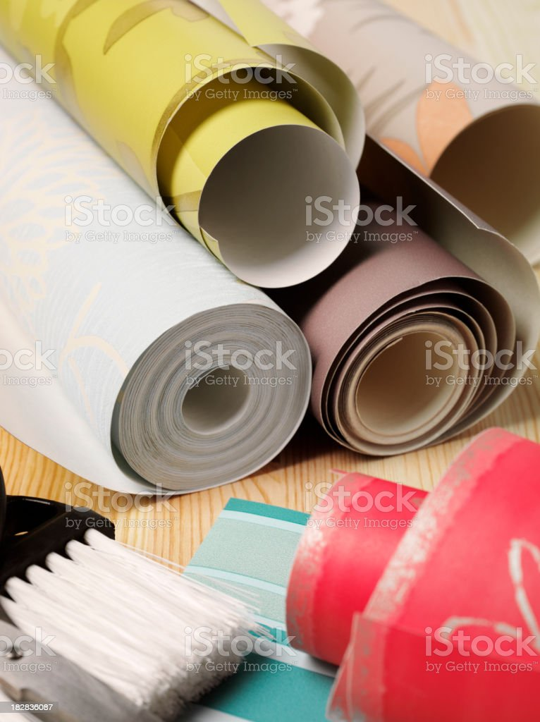 Rolls of Wallpaper and Brush royalty-free stock photo