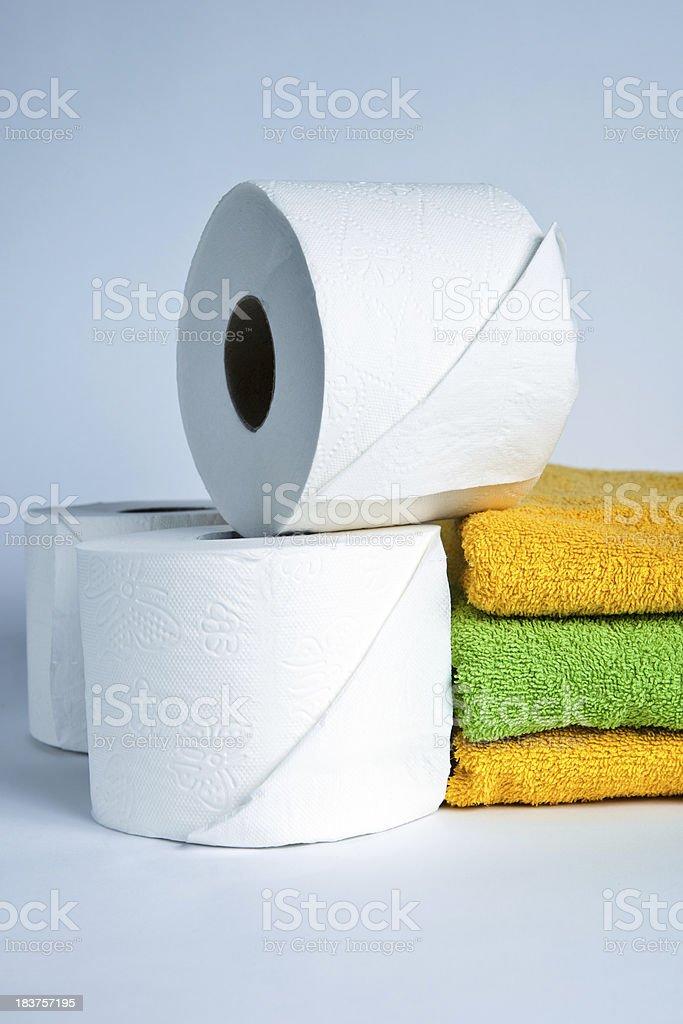 Rolls of white toilet paper stock photo