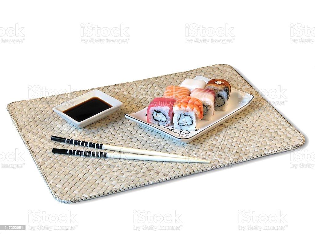 rolls on bamboo mat royalty-free stock photo