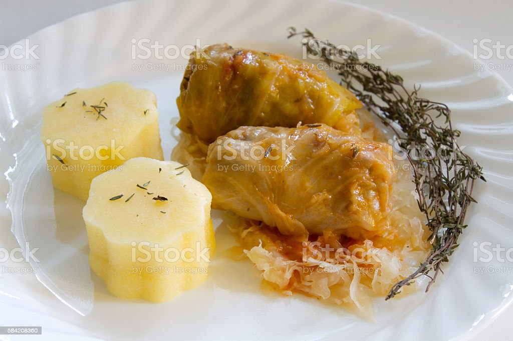 Rolls stuffed cabbage with meat and polenta stock photo