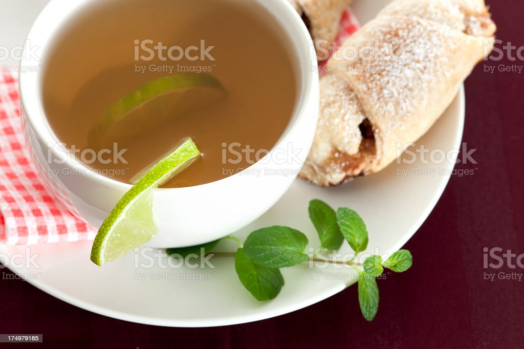 Rolls stuffed with apples and tea royalty-free stock photo