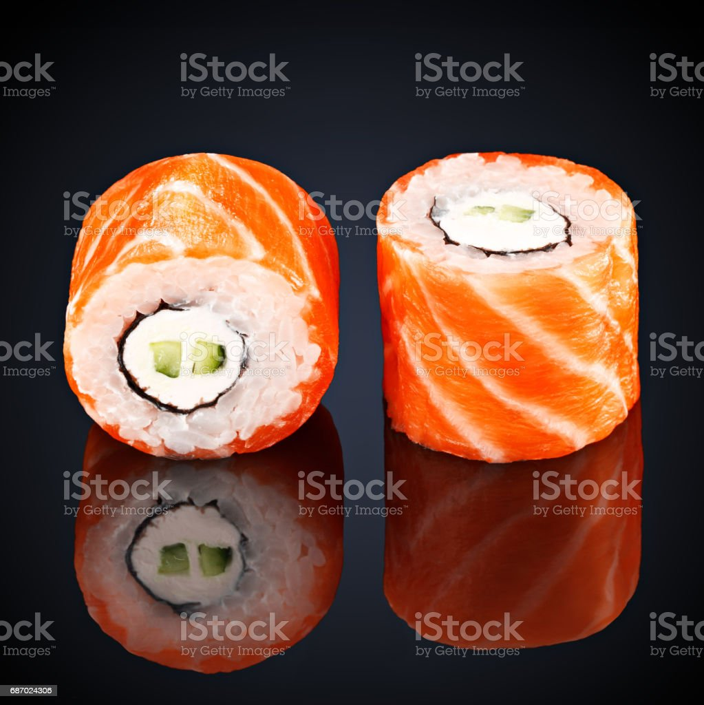 rolls with cucumber, salmon and cream cheese stock photo
