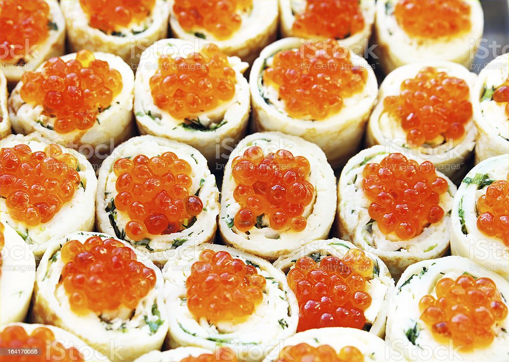Rolls with salmon roe royalty-free stock photo