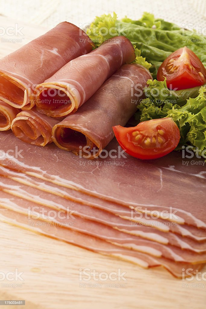 Rolls with smoked ham royalty-free stock photo