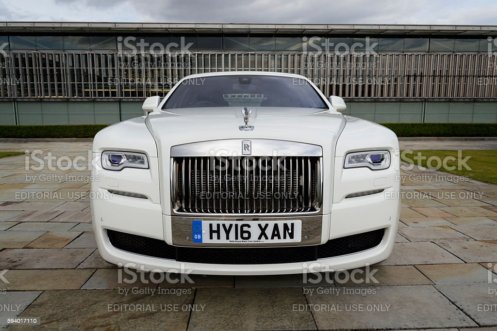 Rolls-Royce Ghost in front of the Goodwood plant stock photo