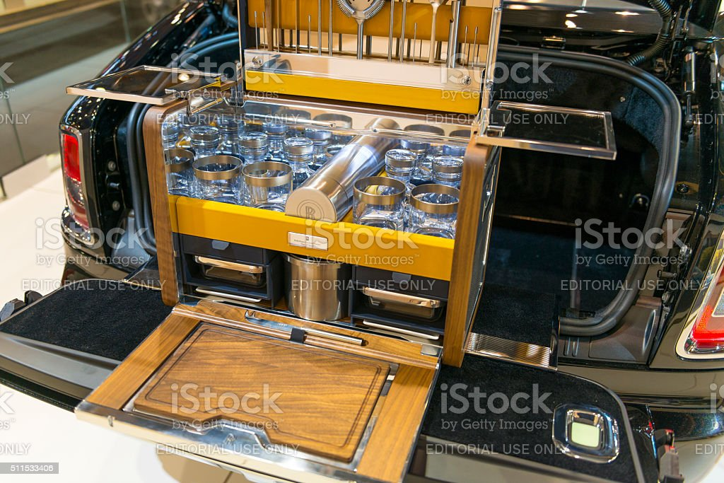 Rolls-Royce luxury picnic set in a Phantom Drophead Coupe stock photo