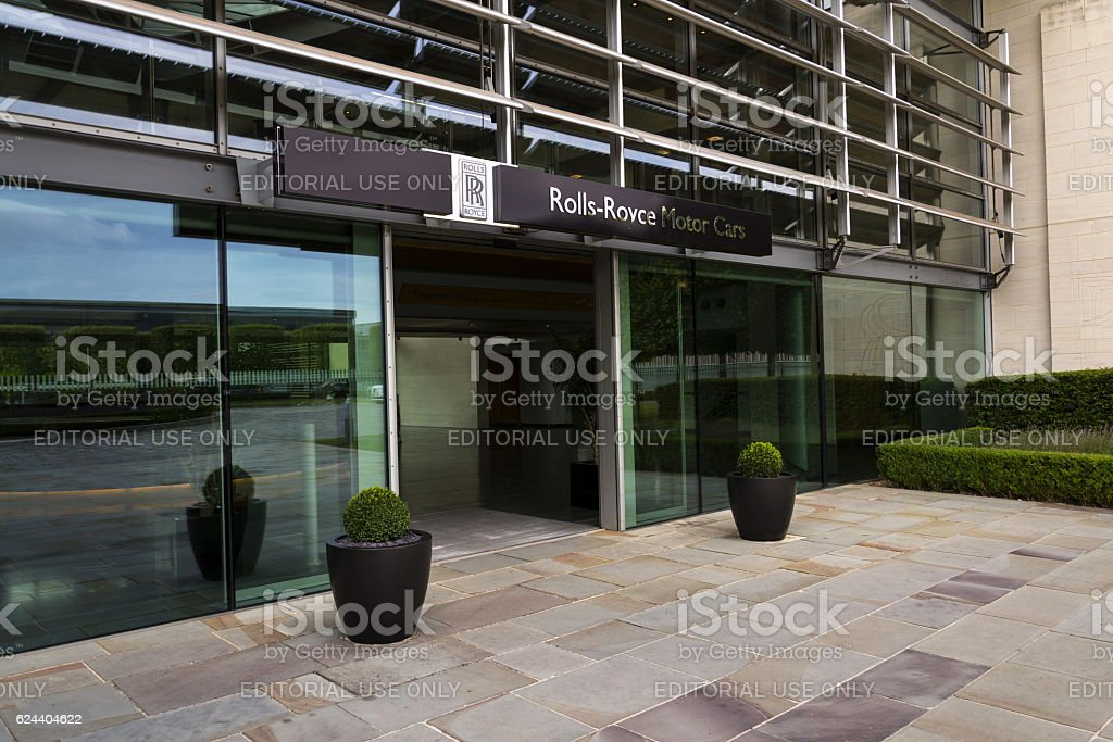 Rolls-Royce Motor Cars entrance hall at the Goodwood car factory stock photo