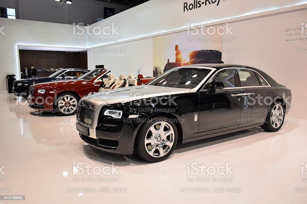 Rolls-Royce vehicles in a row stock photo