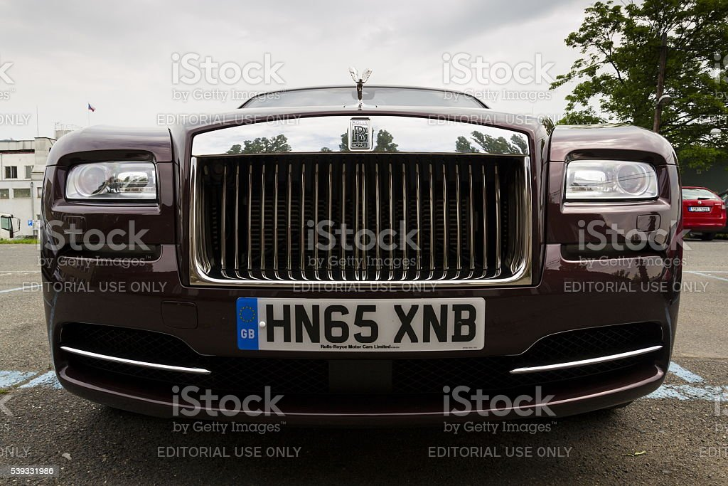 Rolls-Royce Wraith coupe car with Spirit of Ecstasy emblem stock photo