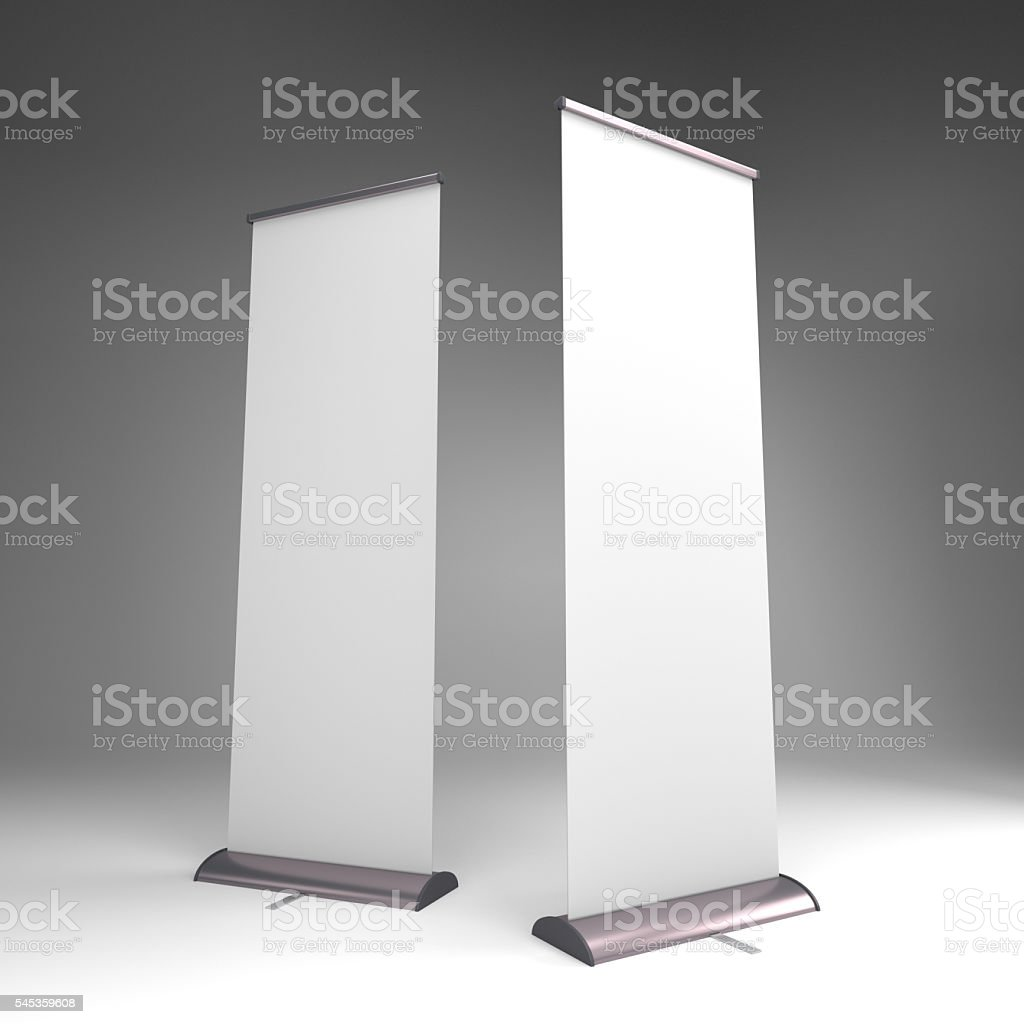 rollup or banners on black stock photo