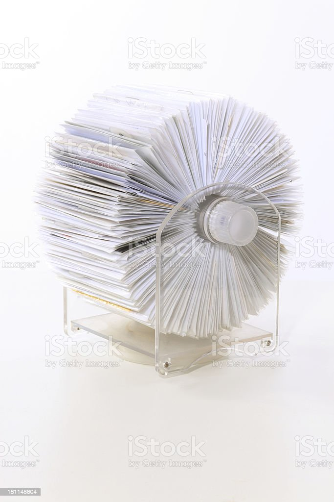 rolodex on white background royalty-free stock photo