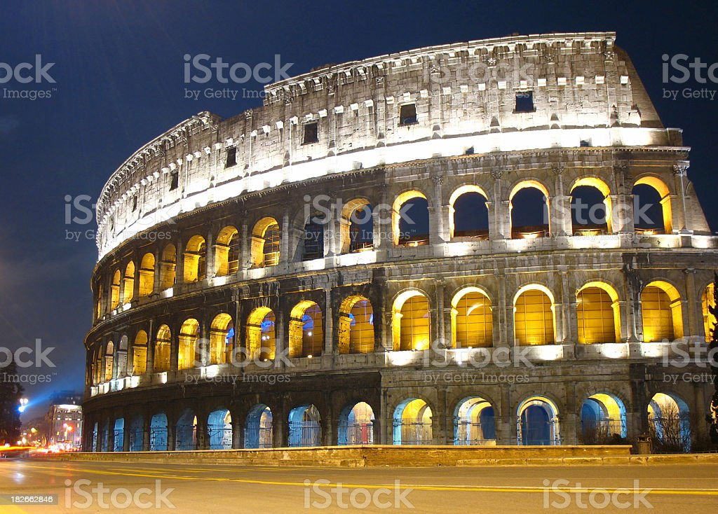 Roma Coliseum by night royalty-free stock photo
